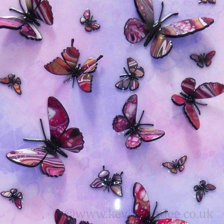 2d butterflies on purple pink background