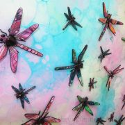 3D dragonflies in pink turquoise