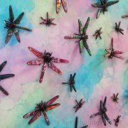 3D dragonflies in pink turquoise side view