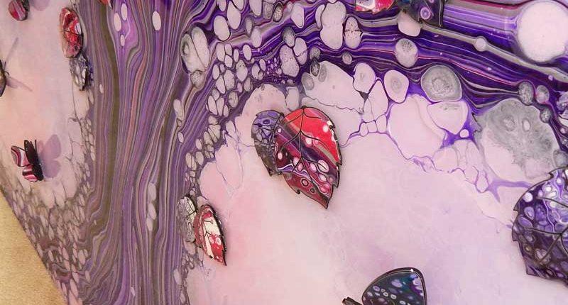 3d butterflies on purple tree