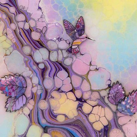 3d hummingbirds in pastel