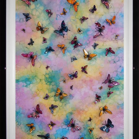 3d multicolour butterfly wave framed