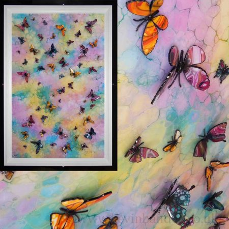 3d multicolour butterfly wave framed gallery