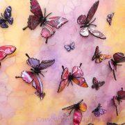3d yellow pink purple multi butterfly