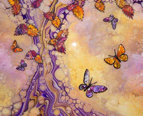 Two butterflies on organic tree