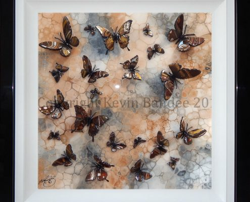 Brown 3D butterfly art