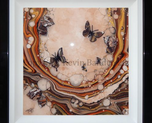 Brown and Gold Organic Butterfly Art