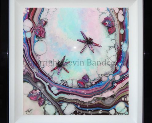 Double dragonly art in purple pink and lime colours