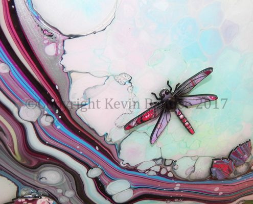 Dragonfly Organic Picture In Pink and Light Blue