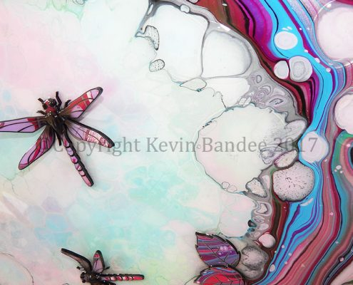 Lilac and Pink Dragonfly Art