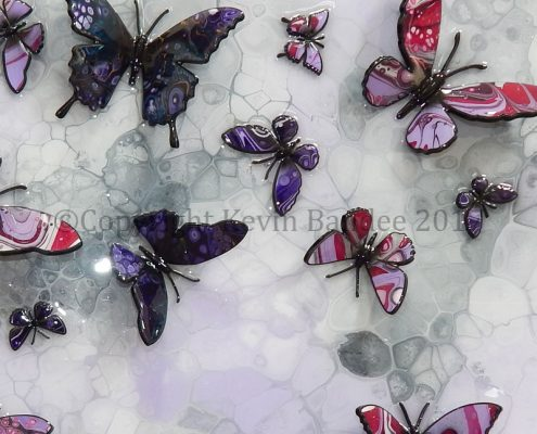 Lilac and purple stone butterfly art 3D