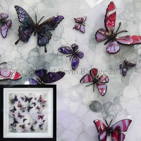 Lilac and purple stone butterfly art 3D gallery
