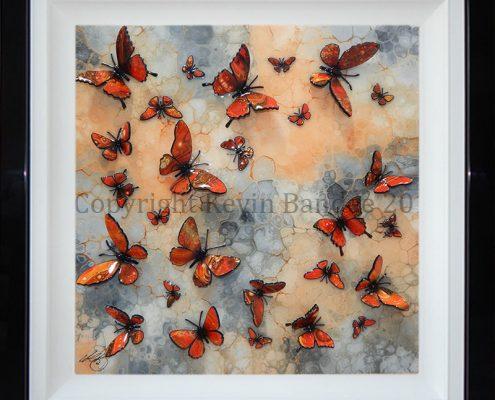 Orange 3D butterflies on stone background