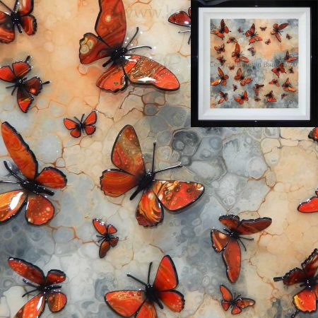 Orange 3D butterflies on stone background gallery