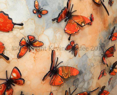 Orange butterflies detail 1