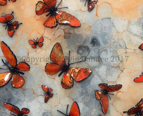 Orange butterflies detail 2