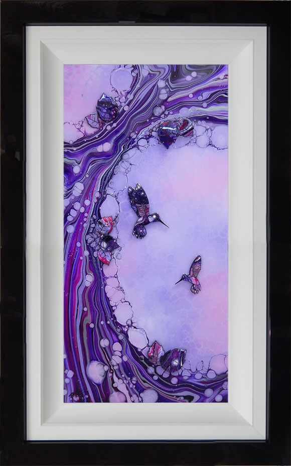 Pink and lilac and purple hummingbird organic art