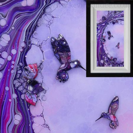 Pink lilac purple hummingbird organic art gallery