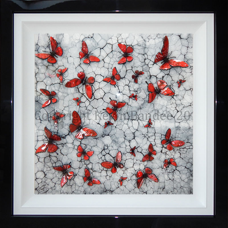 Red 3D butterflies on mono background 2