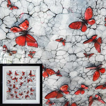 Red butterflies on mono background gallery