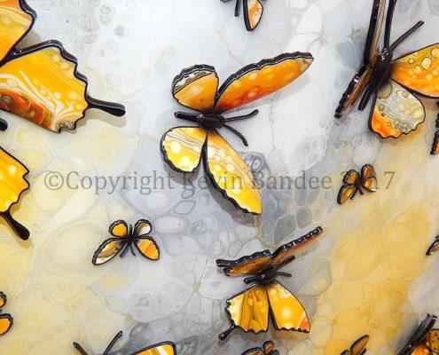 Yellow butterflies 3D