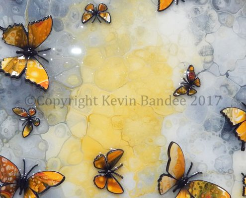 Yellow butterflies 3D on stone background