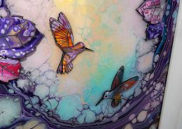 angle view of small hummingbird 3d art
