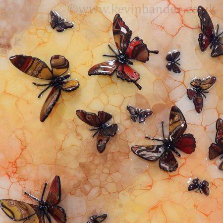 autumn brown yellow butterfly art