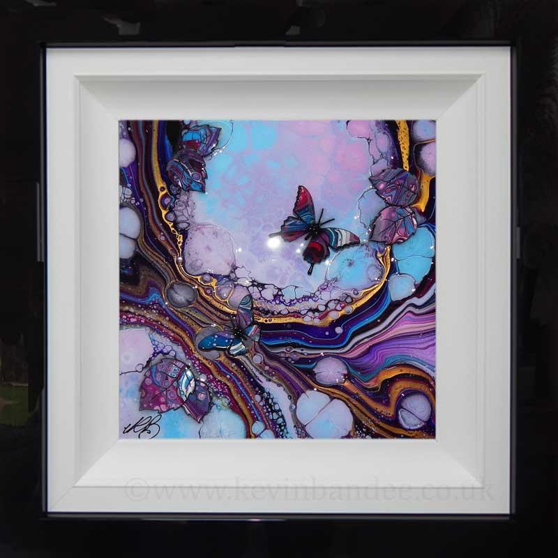 blue pink organic butterfly art framed