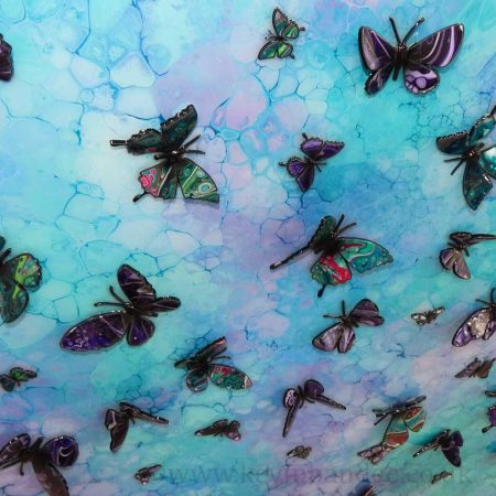 blue purple turquoise multi 3d view butterfly