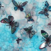 blue turquoise 3d butterfly art
