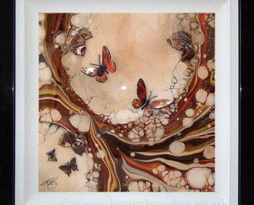 brown red organic 3d butterflies leaves