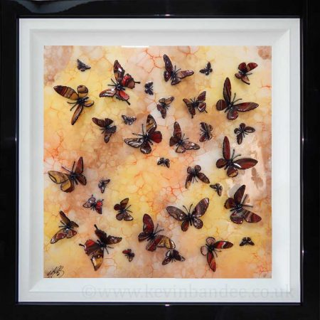 brown red yellow butterfly 3d framed picture