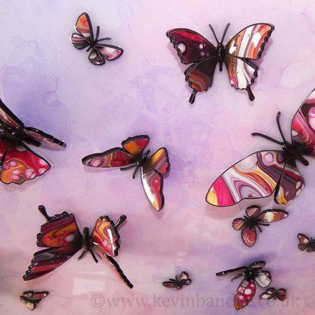 close up pink purple butterflies