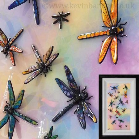 colourful draonfly 3d art framed gallery