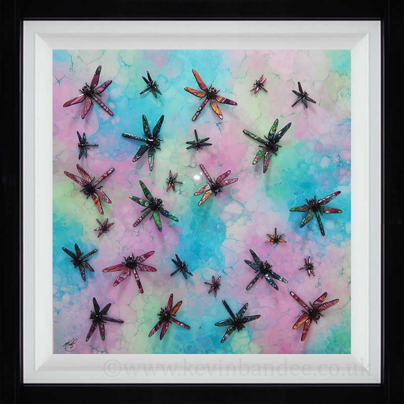 dragonfly piece in pink turquoise light green
