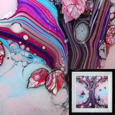 framed gallery light blue pink butterfly tree 3d