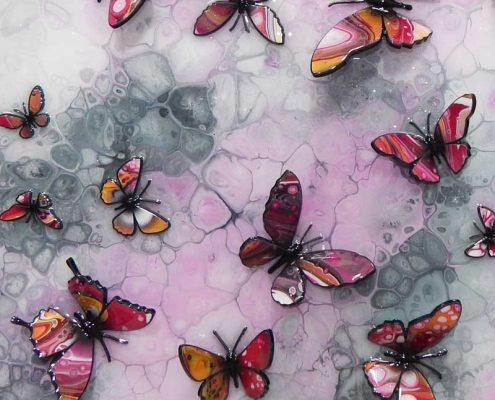 gold and pink butterflies 3d