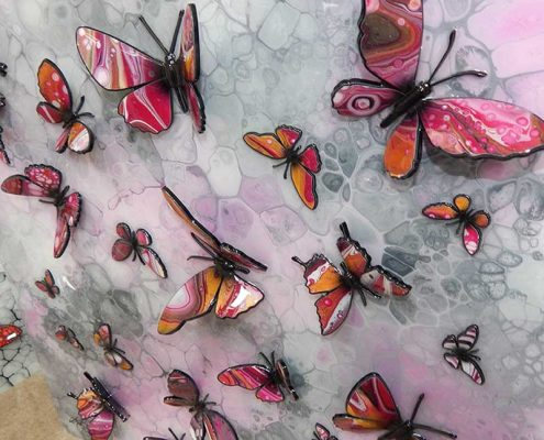 gold and pink butterflies