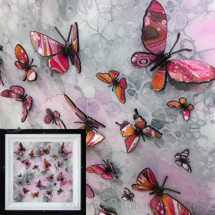 gold and pink butterflies framed gallery