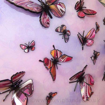 gold pink butterflies on purple pink