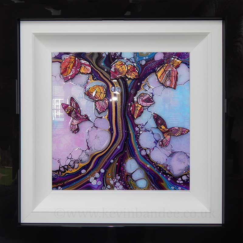 hummingbirds 3d tree framed