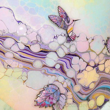 hummingbirds in pastel