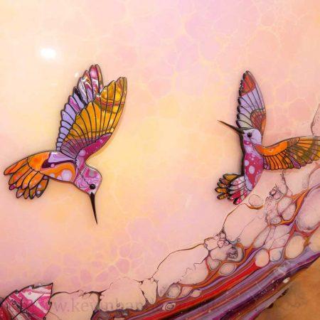 hummingbirds yellow pink lilac 3d