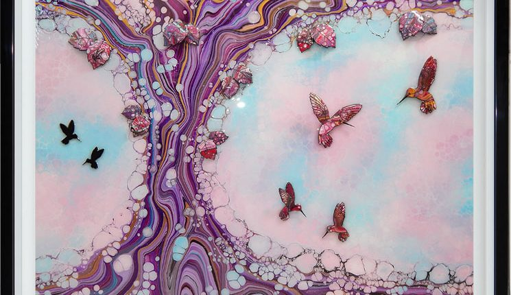 large hummingbird art in blue pink colours