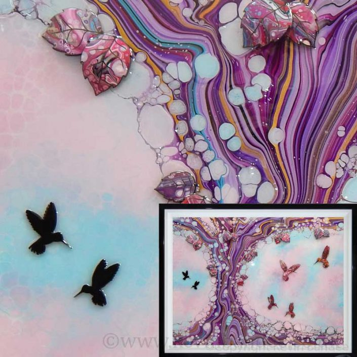 large hummingbird art in blue pink colours gallery