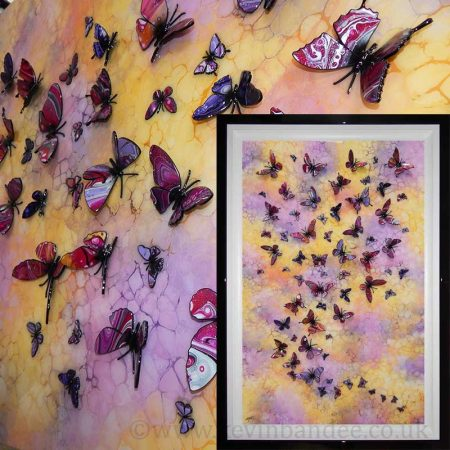 large pink yellow purple multi 3d butterfly piece