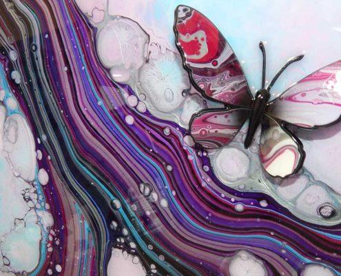 light blue pink butterfly 3d
