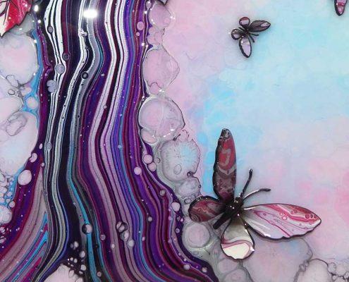 light blue pink butterfly tree 3d