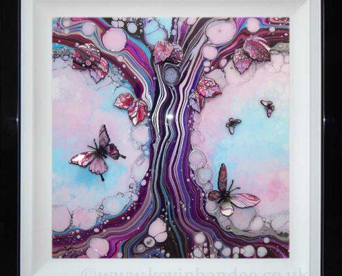 light blue pink organic tree